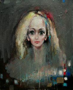 Digne d'amour - 64x52 - mixte et or jaune sur toile